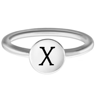 Chamilia Sterling Silver X Alphabet Disc Ring Extra Large - Product number 4949617