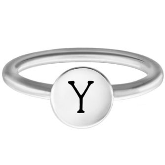 Chamilia Sterling Silver Y Alphabet Disc Ring Extra Small - Product number 4949625