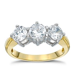 18ct gold 2ct diamond three stone ring - Product number 4951786