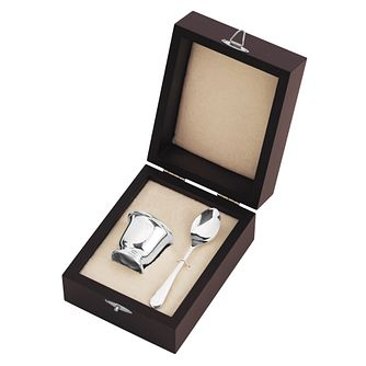 Carrs Sterling Silver Egg Cup & Spoon Mahogany Case Gift Set - Product number 4955226