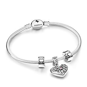 Chamilia Sterling Silver Heart Filigree Lock Bracelet Set - Product number 4963393