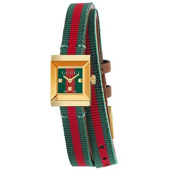 Gucci Ladies' Gold Plated Green and Red Strap Watch - Product number 4963512