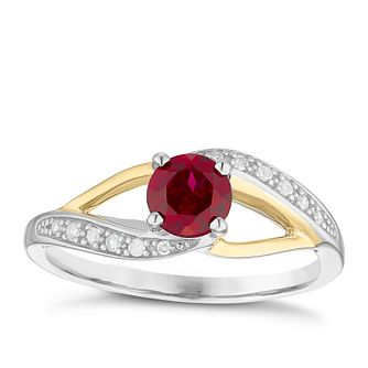 Sterling Silver & 9ct Gold Garnet & Diamond Ring - Product number 4965094