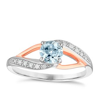 Sterling Silver & 9ct Rose Gold Aquamarine & Diamond Ring - Product number 4965515