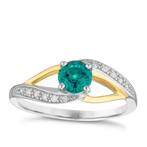 Sterling Silver & 9ct Gold Created Emerald & Diamond Ring - Product number 4965647