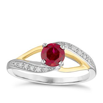 Sterling Silver & 9ct Gold Created Ruby & Diamond Ring - Product number 4965817