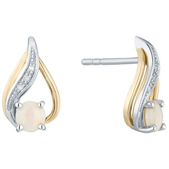 Sterling Silver & 9ct Gold Opal & Diamond Stud Earrings - Product number 4966287