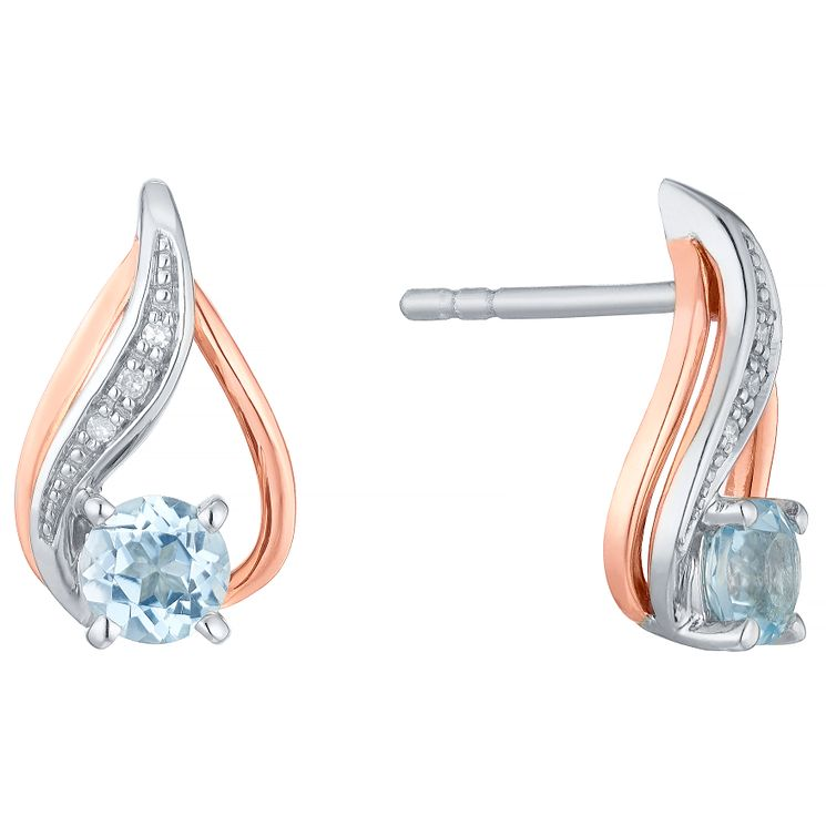 Silver & 9ct Rose Gold Blue Topaz & Diamond Stud Earrings - Product number 4966309