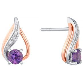 Silver & 9ct Rose Gold Tanzanite & Diamond Stud Earrings - Product number 4966325
