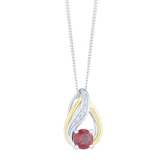 Sterling Silver & 9ct Gold Garnet & Diamond Pendant - Product number 4966333