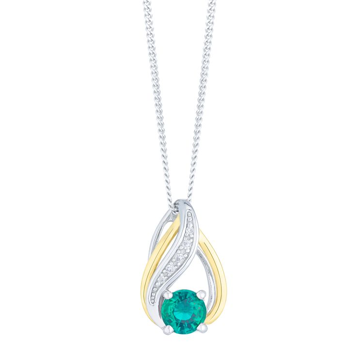 Sterling Silver and 9ct Gold Created Emerald and Diamond