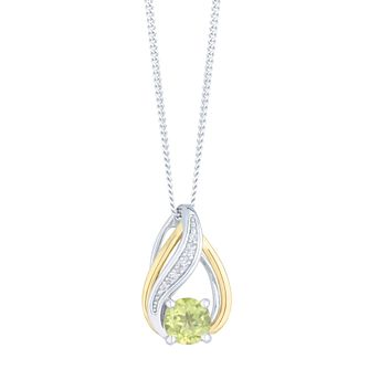 Sterling Silver & 9ct Gold Peridot & Diamond Pendant - Product number 4966449