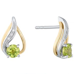 Sterling Silver & 9ct Gold Peridot & Diamond Stud Earrings - Product number 4966457