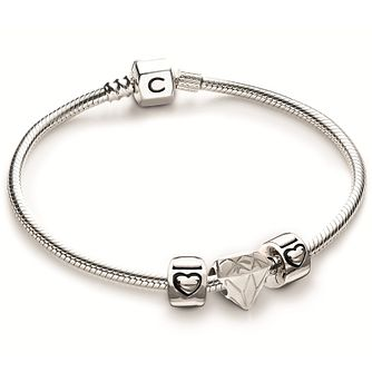 Chamilia Fancy Cut Lock Charm & Bracelet Gift Set - Product number 4969448