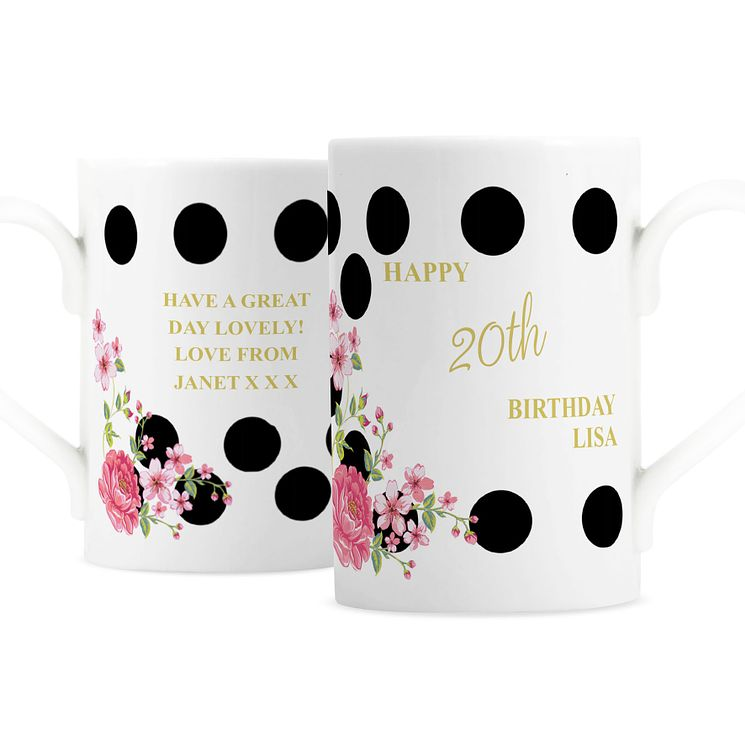 Personalised Floral Dot Windsor Mug - Product number 4969766