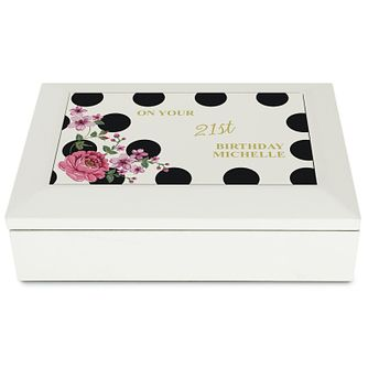 Personalised Floral Dot Jewellery Box - Product number 4969812