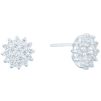 Sterling Silver Cubic Zirconia Set Cluster Stud Earrings - Product number 4975081