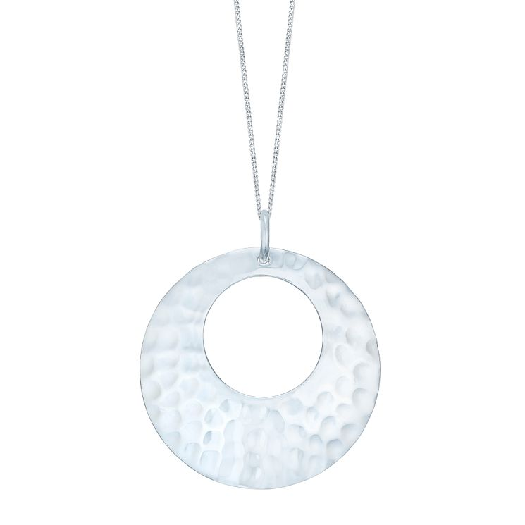 "Sterling Silver Hammered Disc Pendant 18"" - Product number 4975200"