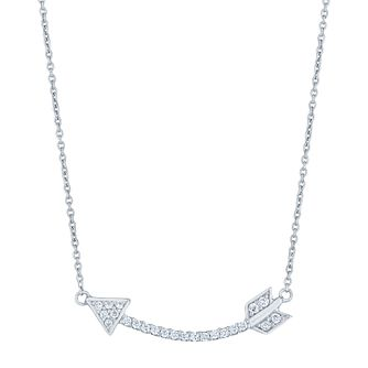 Sterling Silver Cubic Zirconia Set Arrow Necklace - Product number 4975529
