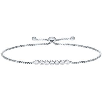 Sterling Silver Cubic Zirconia Set Adjustable Bracelet - Product number 4975618