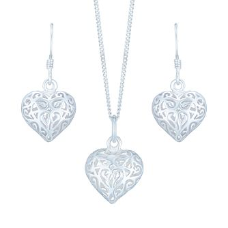 "Sterling Silver Filigree Heart 18"" Pendant & Drop Earrings - Product number 4975626"
