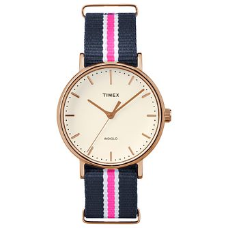 Timex Weekender Fairfield White, Pink and Blue Strap Watch - Product number 4978781