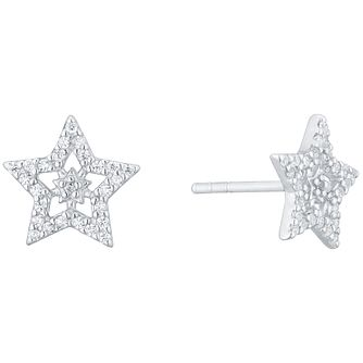 Sterling Silver Cubic Zirconia Set Star Stud Earrings - Product number 4980913