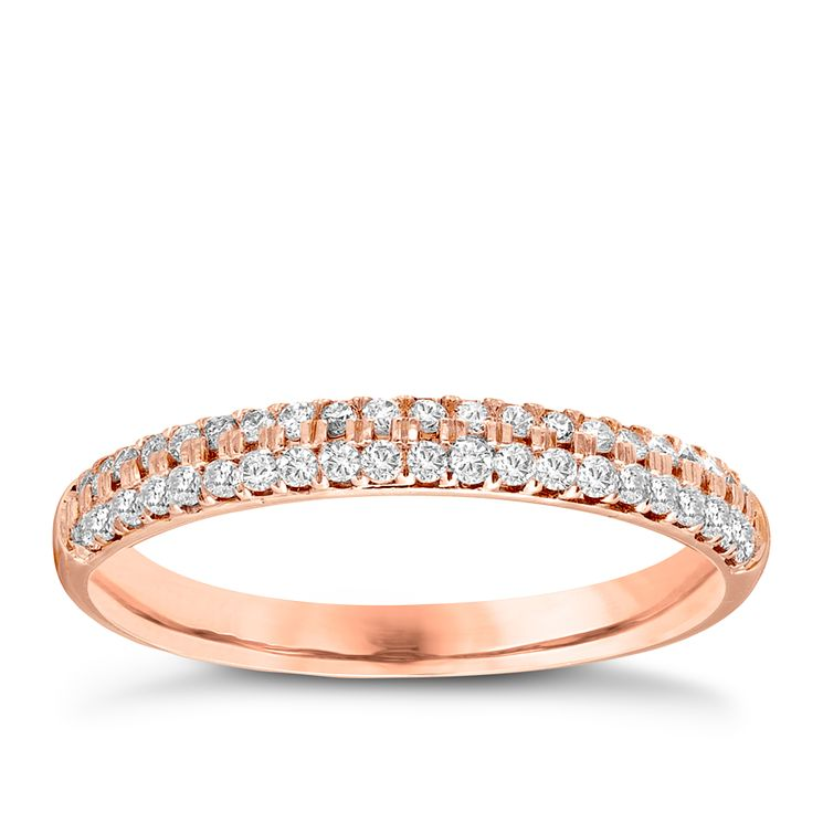 Vera Wang 18ct rose gold 0.37CT diamond wedding band - Product number 4987241