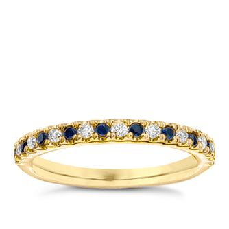Vera Wang 18ct yellow gold diamond & sapphire wedding band - Product number 4987667
