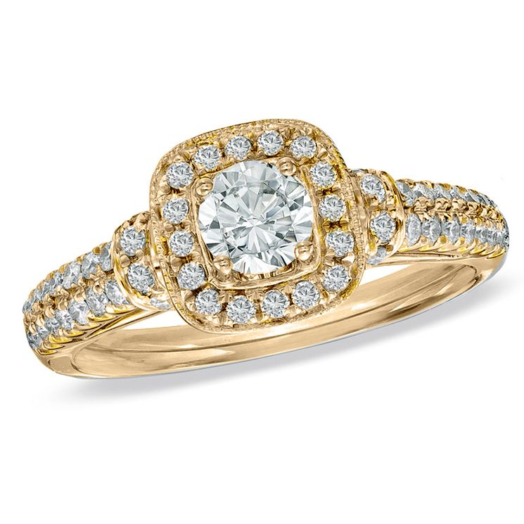 Vera Wang 18ct yellow gold 70pt diamond cushion halo ring - Product number 4989678