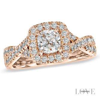 Vera Wang 18ct rose gold 1.3 carat diamond halo ring - Product number 4989872