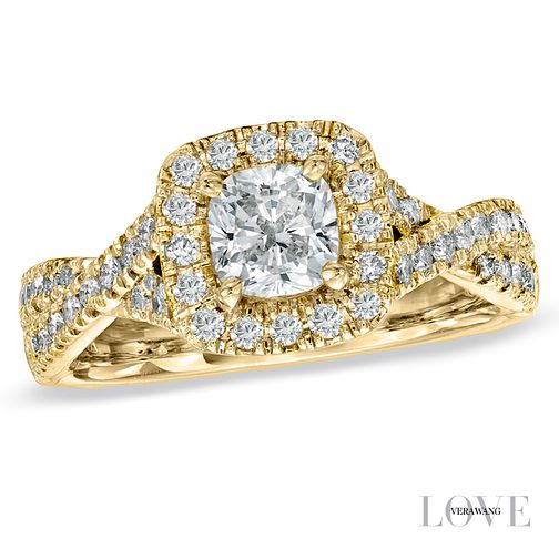 Vera Wang 18ct yellow gold 1.3 carat diamond halo ring - Product number 4990013
