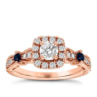 Vera Wang 18ct rose Gold 125ct Diamond Pear Halo Ring - Product number 4990196
