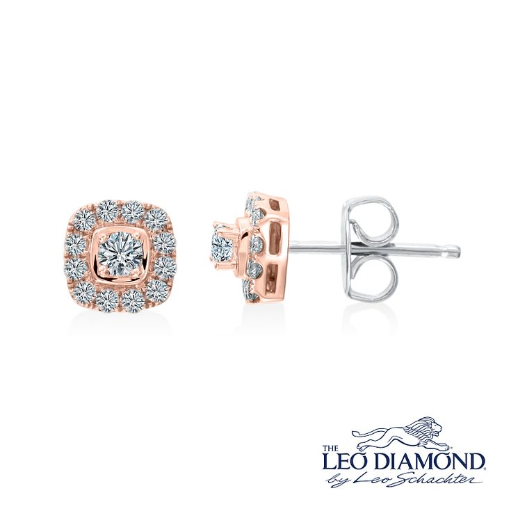 Leo Diamond 18ct Rose Gold 0.40ct I I1 Diamond Earrings - Product number 4993942