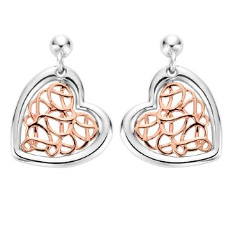 Clogau Silver 9ct Rose Gold Royal Heart Earrings - Product number 4994981