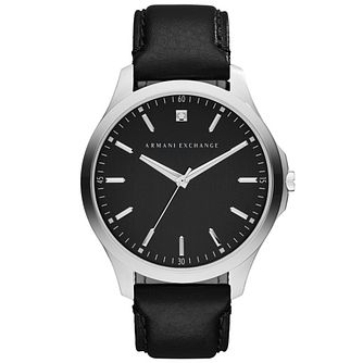 Armani Exchange Men's Black Dial Black Leather Strap Watch - Product number 4995309