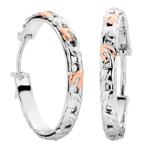 Clogau Silver 9ct Rose gold Tree of Life Creole Earrings - Product number 4996356