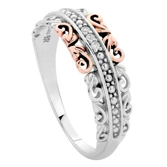 Clogau Silver 9ct rose Gold Diamond Ring Size L - Product number 4997417