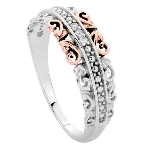 Clogau Silver 9ct rose Gold Diamond Ring Size P - Product number 4997840