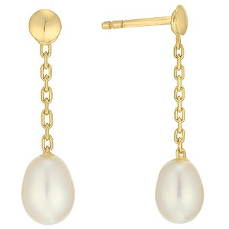 9ct Gold 4.5mm Cultured Freshwater Pearl Chain Drop Earrings - Product number 5001226