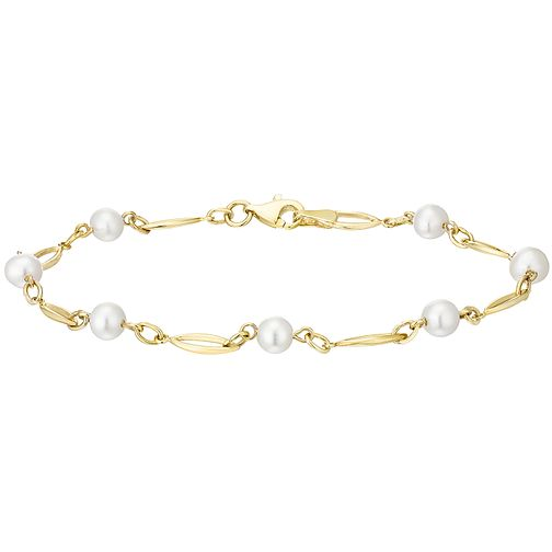 9ct Gold Cultured Freshwater Pearl Oval Link Bracelet - Product number 5001242