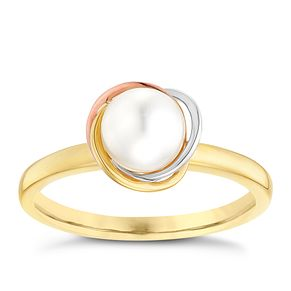 9ct Gold 3 Colour Cultured Freshwater Pear Knot Ring - Product number 5001722