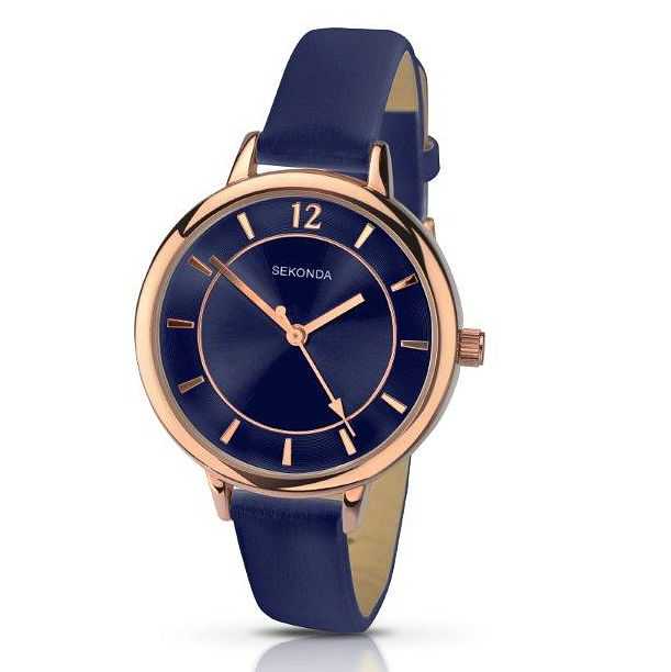 Sekonda Editions Ladies' Blue Dial Blue Leather Strap Watch - Product number 5004683