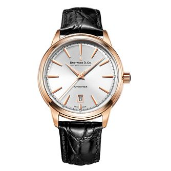 Dreyfuss & Co 1890 Men's Rose Gold Plated Strap Watch - Product number 5007593