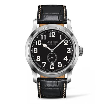 Longines Heritage Military Men's Black Leather Strap Watch - Product number 5011507