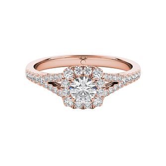 The Diamond Story 18ct Rose Gold 0.50ct Diamond Halo Ring - Product number 5015871