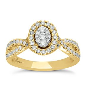 Neil Lane 14ct Yellow Gold 0.62ct Halo Twist Ring - Product number 5026733