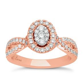 Neil Lane 14ct Rose Gold 0.62ct Halo Twist Ring - Product number 5026865
