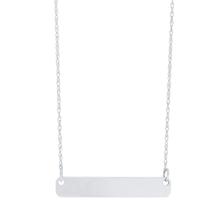 "9ct White Gold Plain Bar Necklace With 18"" Chain - Product number 5029570"