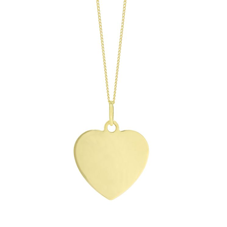 "9ct Gold Plain Heart Pendant With 18"" Chain - Product number 5029686"